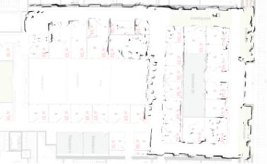 """Surimpression de la carte Cartographer de la """"trajectoire en P"""" sur le plan du bâtiment"""