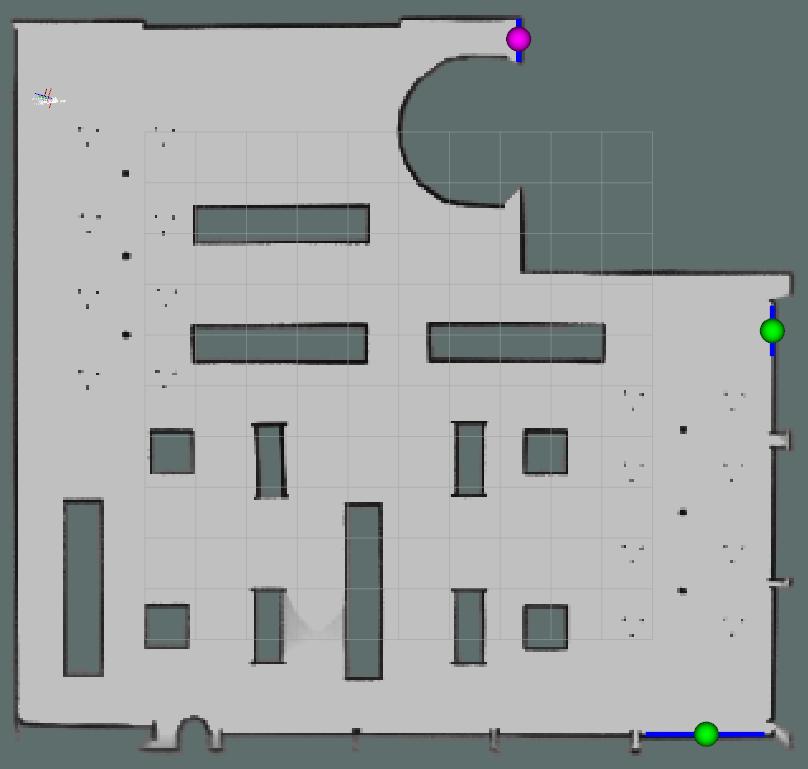 Ici, le robot détecte encore trois frontières alors que la carte construite peut être considérée comme complète.